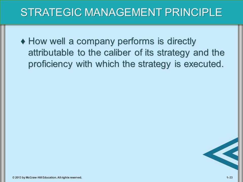 How well a company performs is directly attributable to the caliber of its strategy and the proficiency with which the strategy is executed.