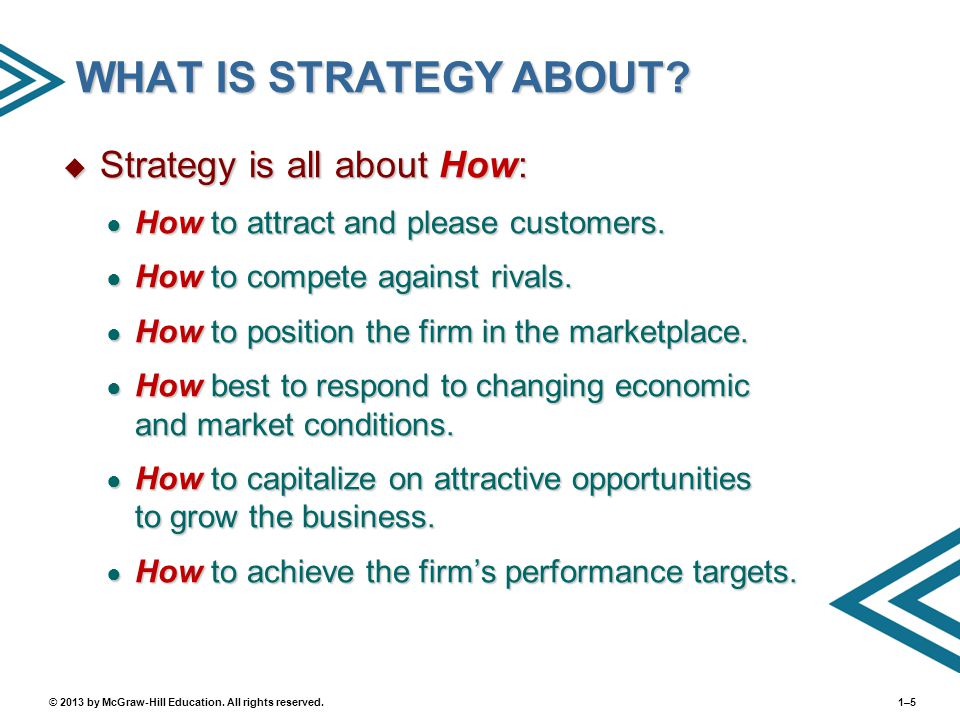 WHAT IS STRATEGY ABOUT Strategy is all about How: