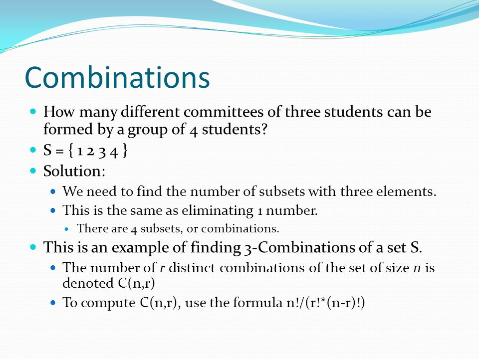 how to find total number of combinations