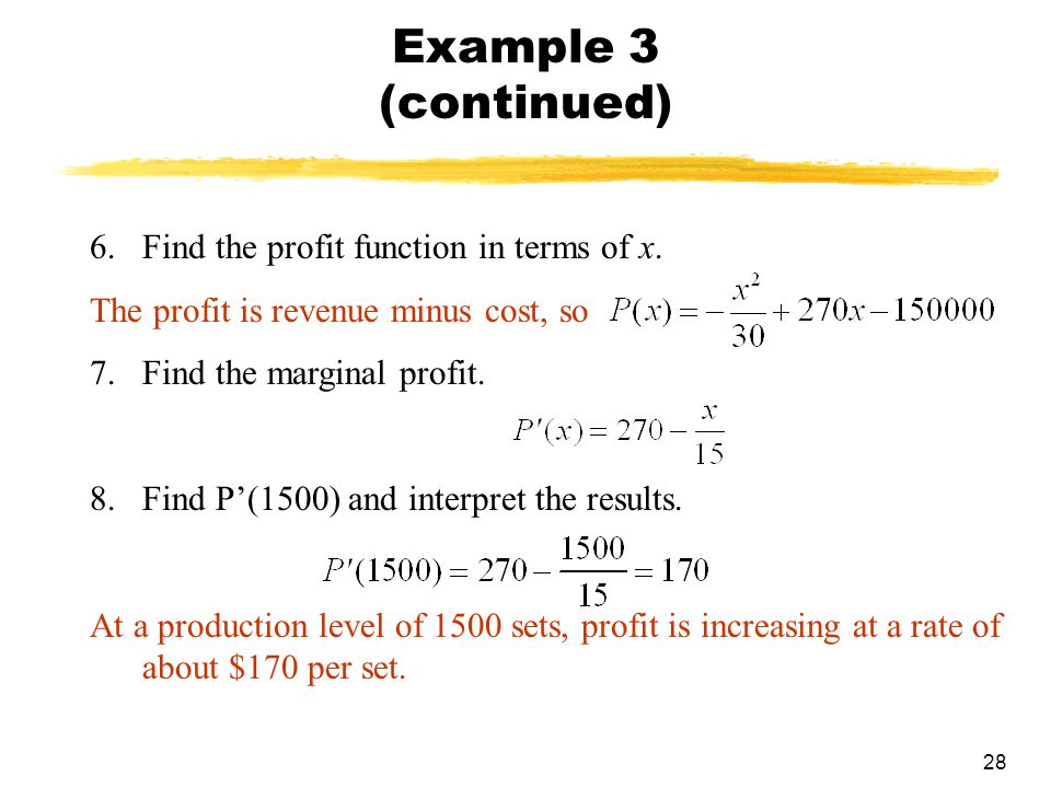 how to find profit function using cost and revenue