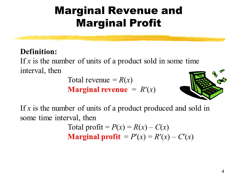 marginal profit Marginal profit is the added profit from selling 1 more item marginal profit = (selling price) - (total variable costs for 1 unit) marginal profit is also the added profit from adding a new product or product line.
