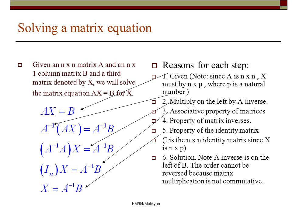 Solving a matrix equation
