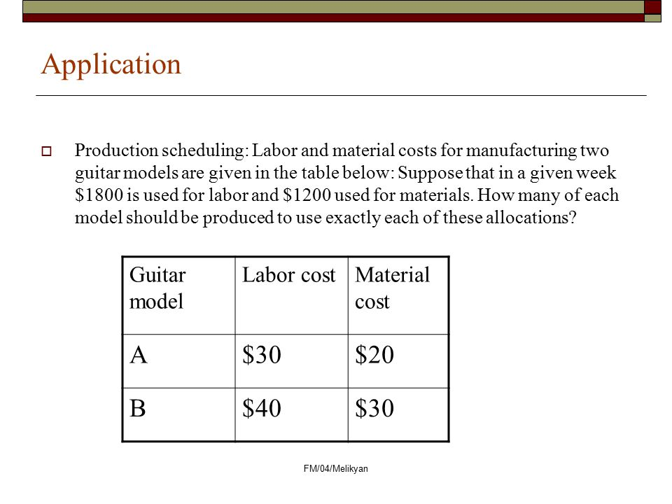 Application A $30 $20 B $40 Guitar model Labor cost Material cost