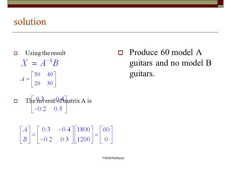 solution Produce 60 model A guitars and no model B guitars.