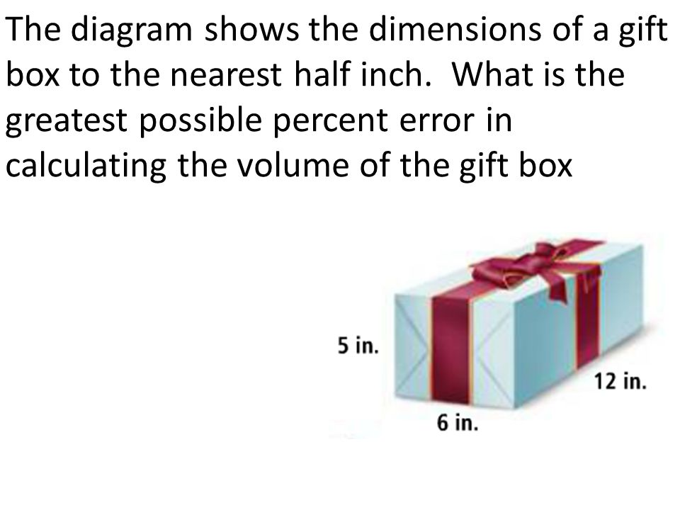 The diagram shows the dimensions of a gift box to the nearest half inch.