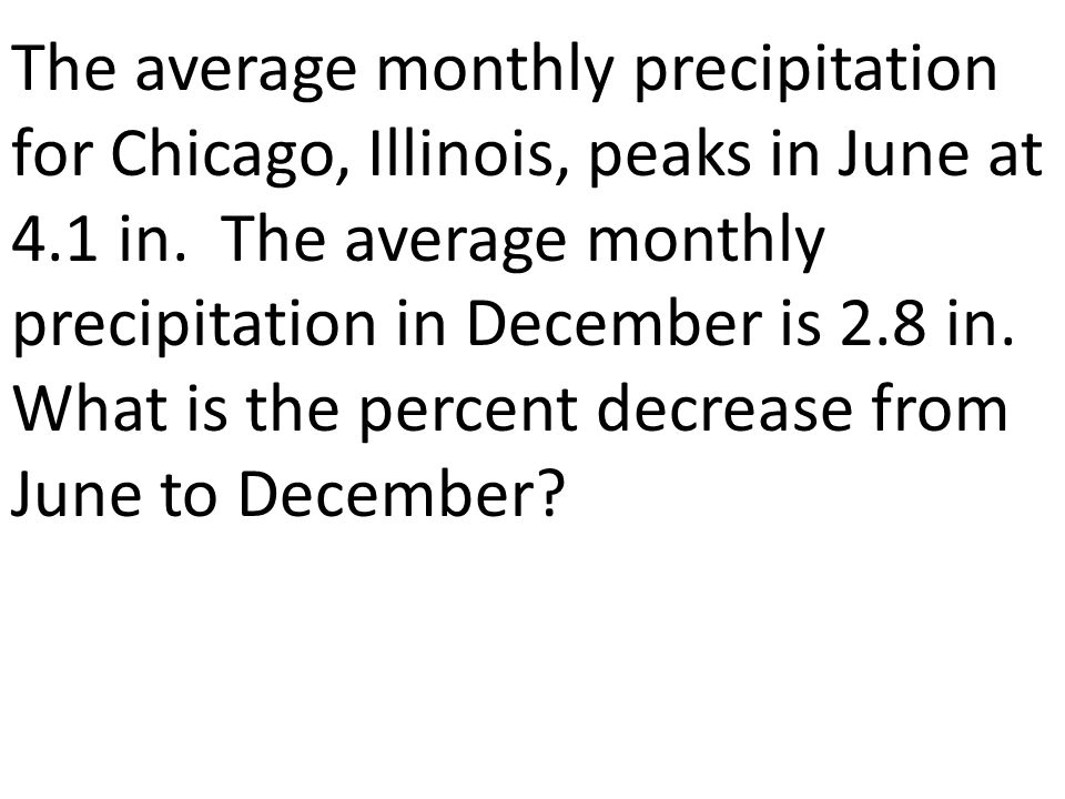 The average monthly precipitation for Chicago, Illinois, peaks in June at 4.1 in.