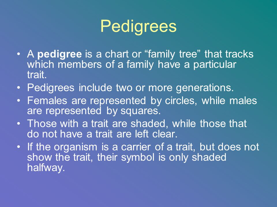 Pedigrees A pedigree is a chart or family tree that tracks which members of a family have a particular trait.