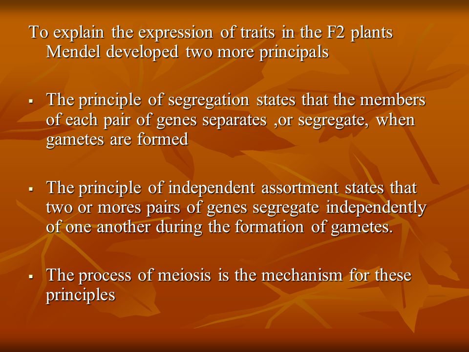 To explain the expression of traits in the F2 plants Mendel developed two more principals