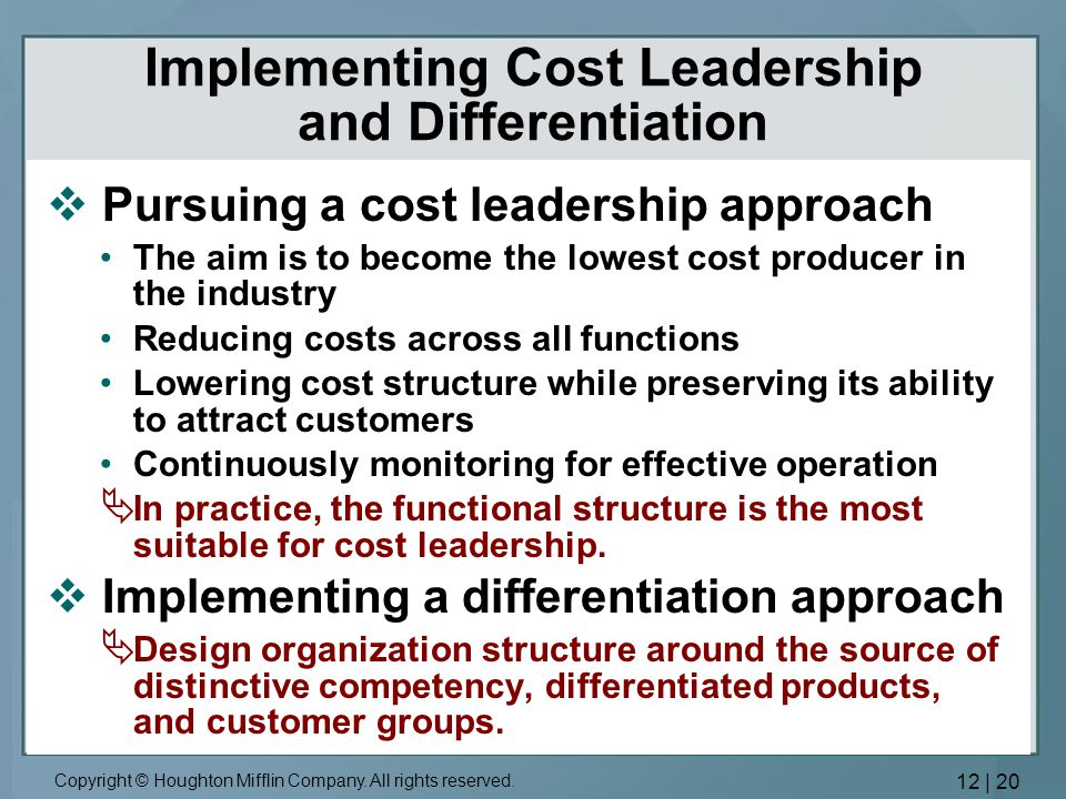differentiation or cost leadership Cost leadership theory is a practice of lowering operating costs to be able to offer lower prices than one's competitors walmart and payless are large companies that have had great success in .
