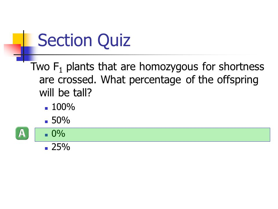 Section Quiz Two F1 plants that are homozygous for shortness are crossed. What percentage of the offspring will be tall