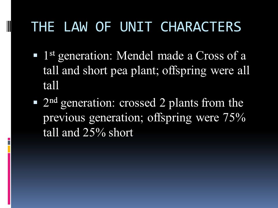 THE LAW OF UNIT CHARACTERS
