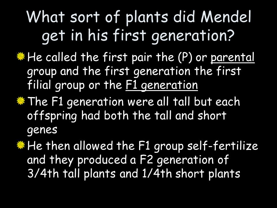 What sort of plants did Mendel get in his first generation