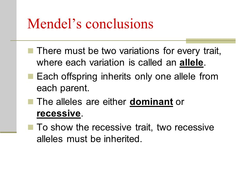 Mendel's conclusions There must be two variations for every trait, where each variation is called an allele.
