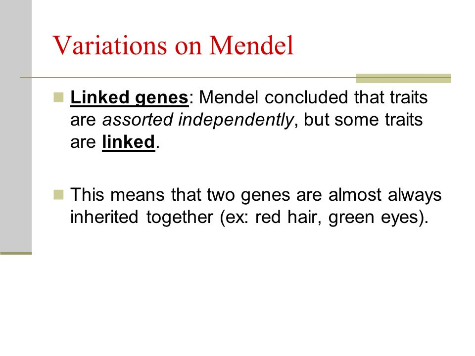 Variations on Mendel Linked genes: Mendel concluded that traits are assorted independently, but some traits are linked.