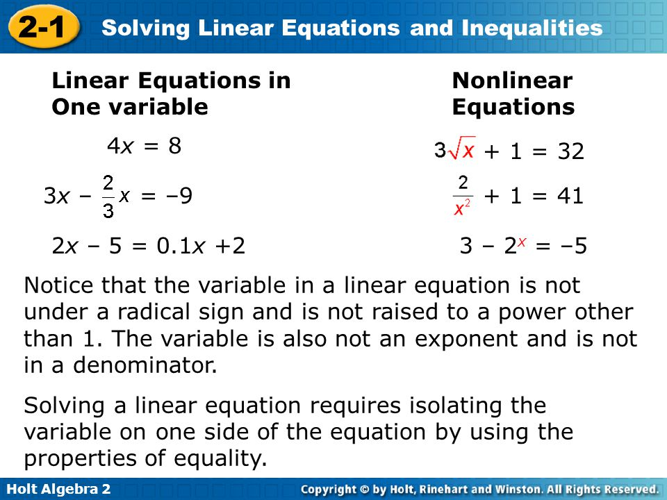 2-1 Solving Linear Equations and Inequalities Warm Up - ppt video ...