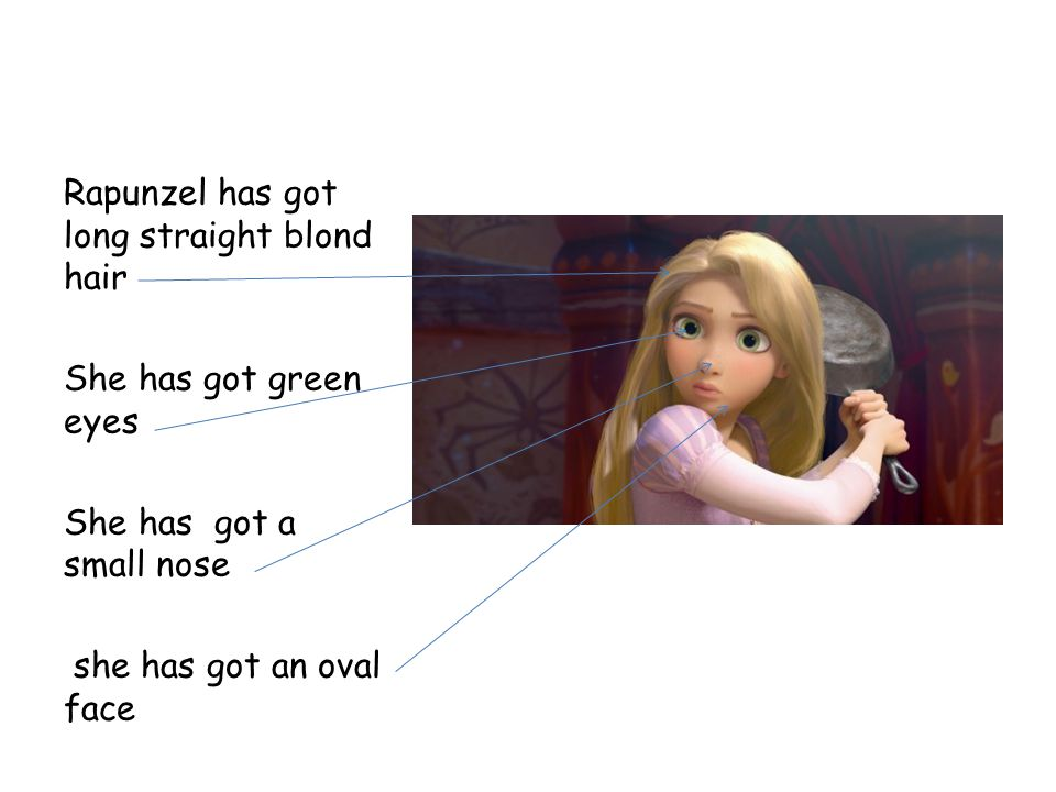 Rapunzel has got long straight blond hair