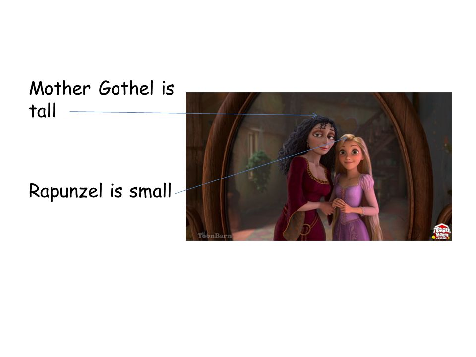 Mother Gothel is tall Rapunzel is small