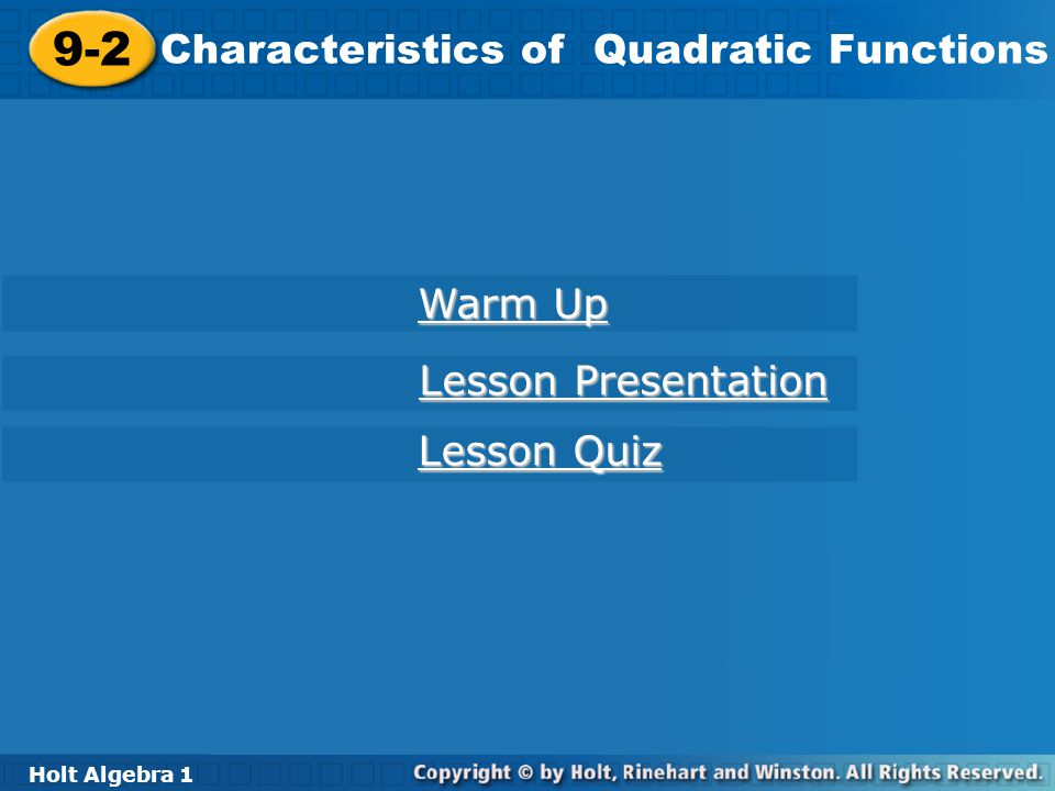 9 2 Characteristics Of Quadratic Functions Warm Up Lesson Presentation