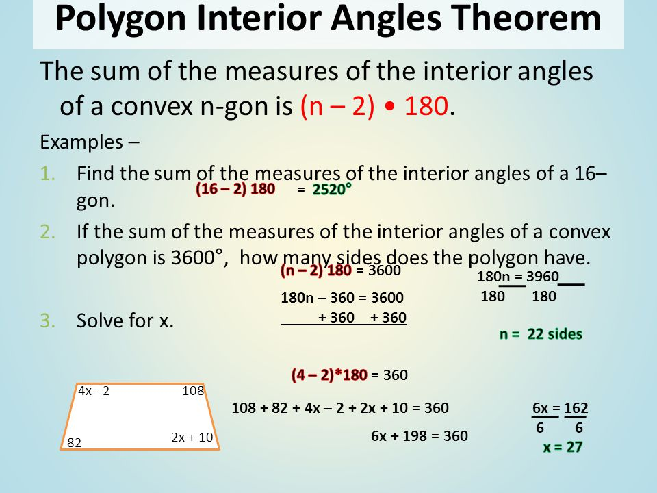 Sum of interior and exterior angles in polygons ppt - Definition of interior and exterior angles ...