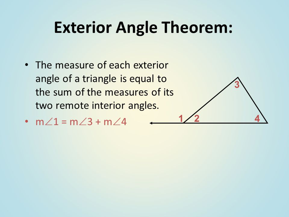 Sum of interior and exterior angles in polygons ppt for Exterior angle theorem