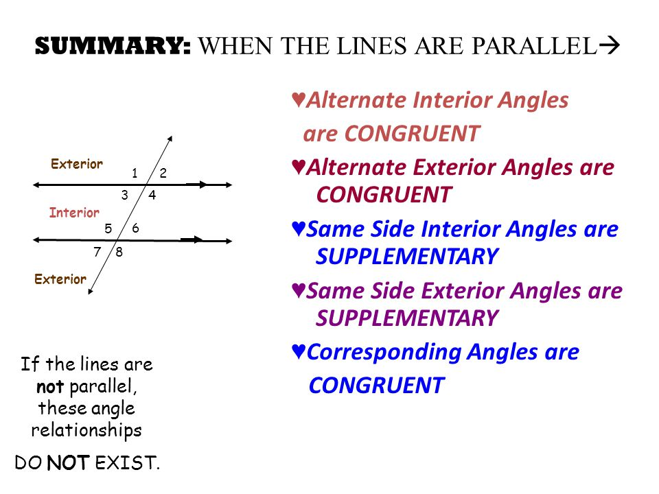 Lesson 2 6 parallel lines cut by a transversal ppt video - Same side exterior angles are congruent ...