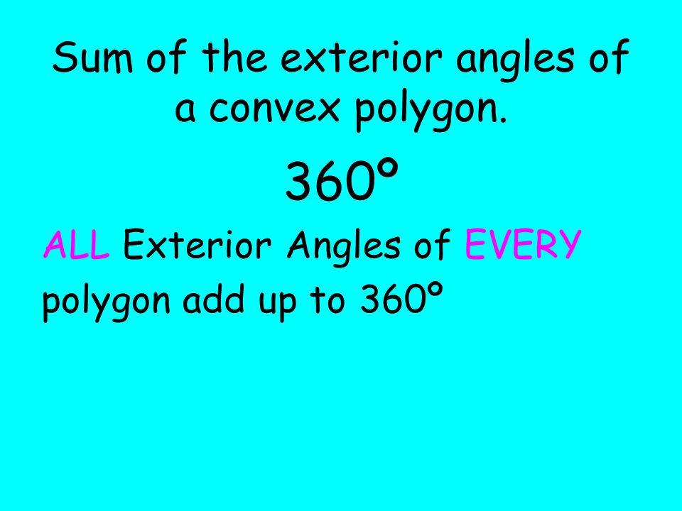 Interior and exterior angles of polygons ppt video - Sum of exterior angles of polygon ...
