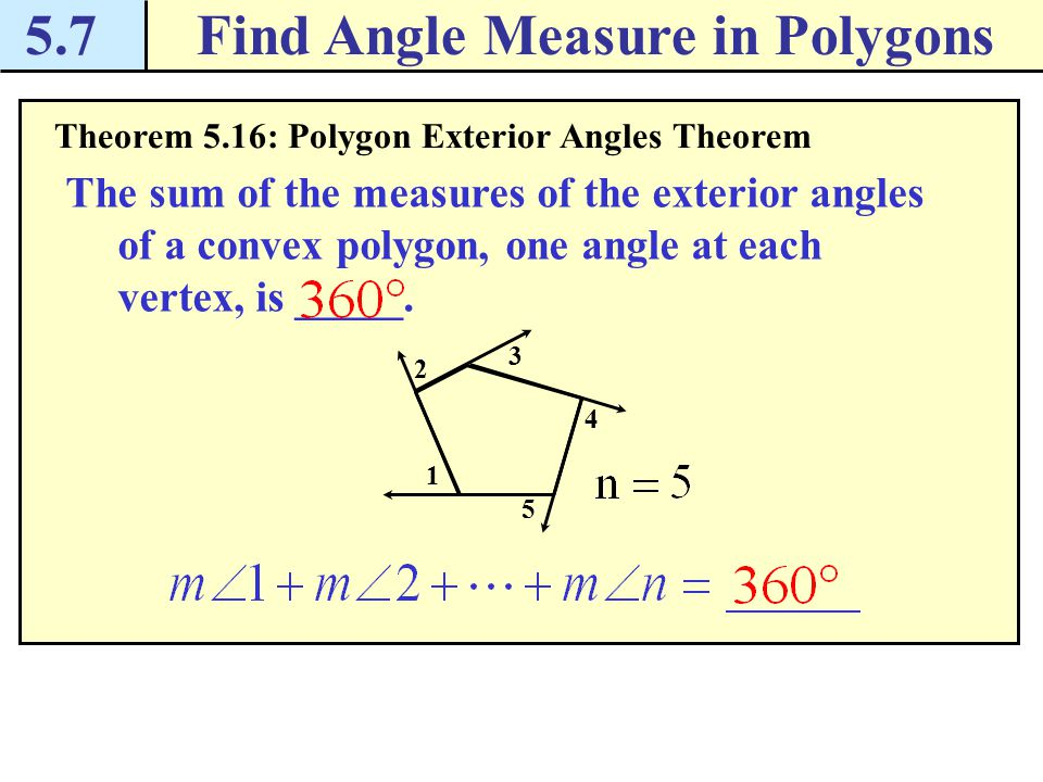 Find angle measure in polygons ppt download - Define exterior angle of a polygon ...