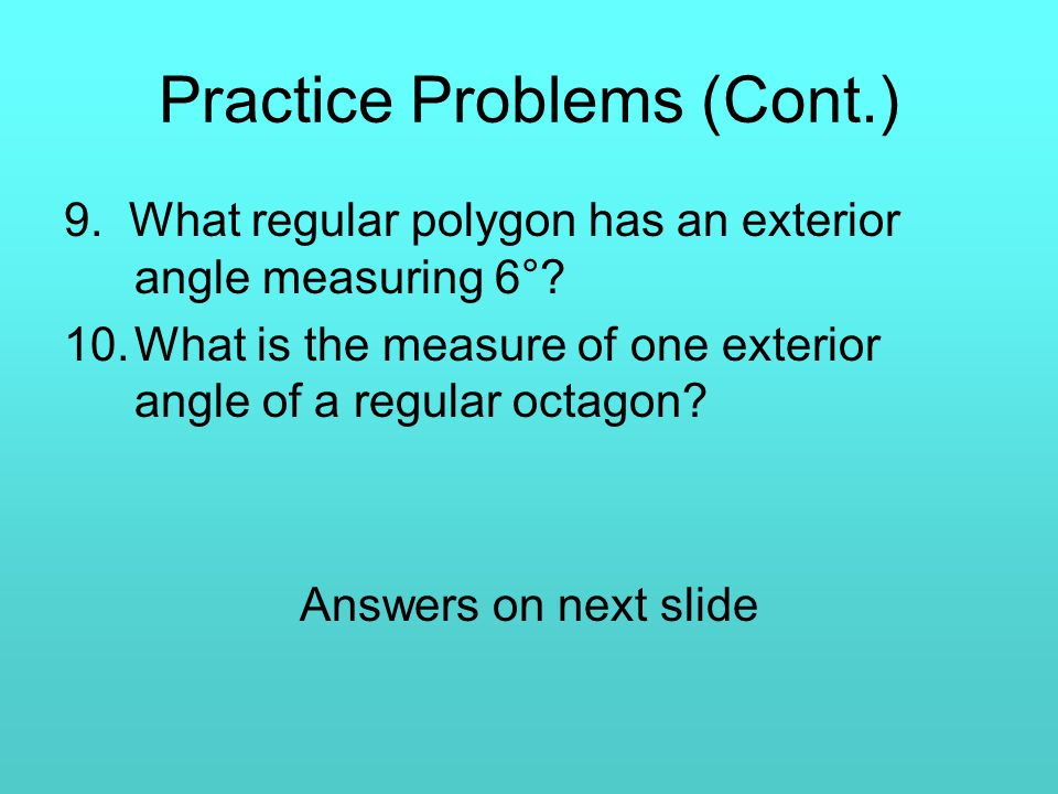 Formulas Involving Polygons Chapter 7 Section 3 Ppt