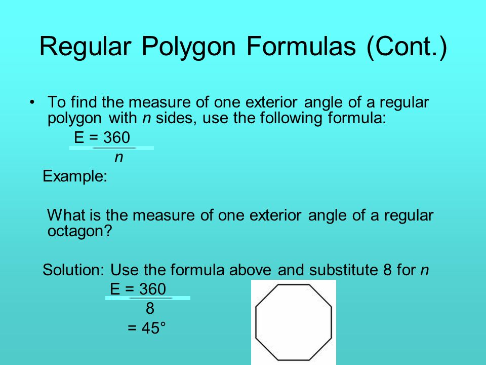 Formulas involving polygons chapter 7 section 3 ppt video online download for Exterior angles of a polygon formula