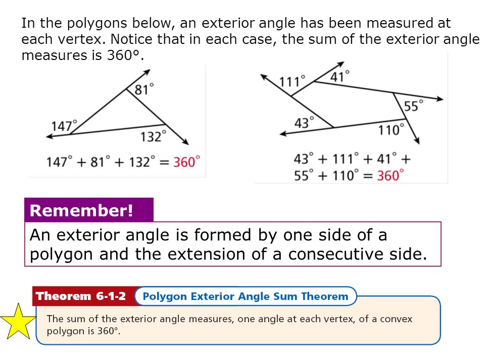 Geometry 6 1 prop attributes of polygons ppt video online download for Each exterior angle of a regular polygon