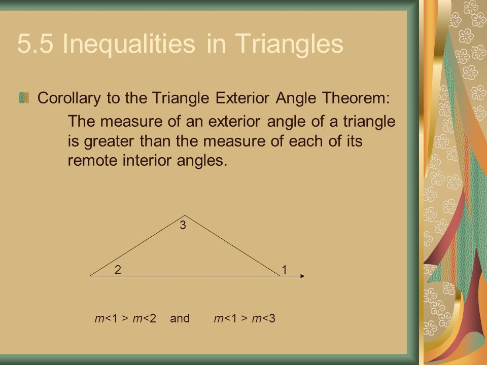 5 5 inequalities in triangles ppt video online download - Exterior angle inequality theorem ...