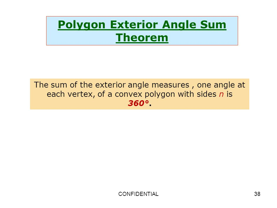 Properties and attributes of polygons ppt video online - Sum of all exterior angles of a polygon ...