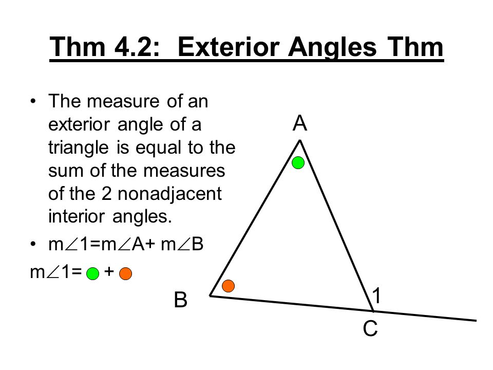 4 2 measuring angles in triangles ppt video online download - Sum of the exterior angles of a triangle ...