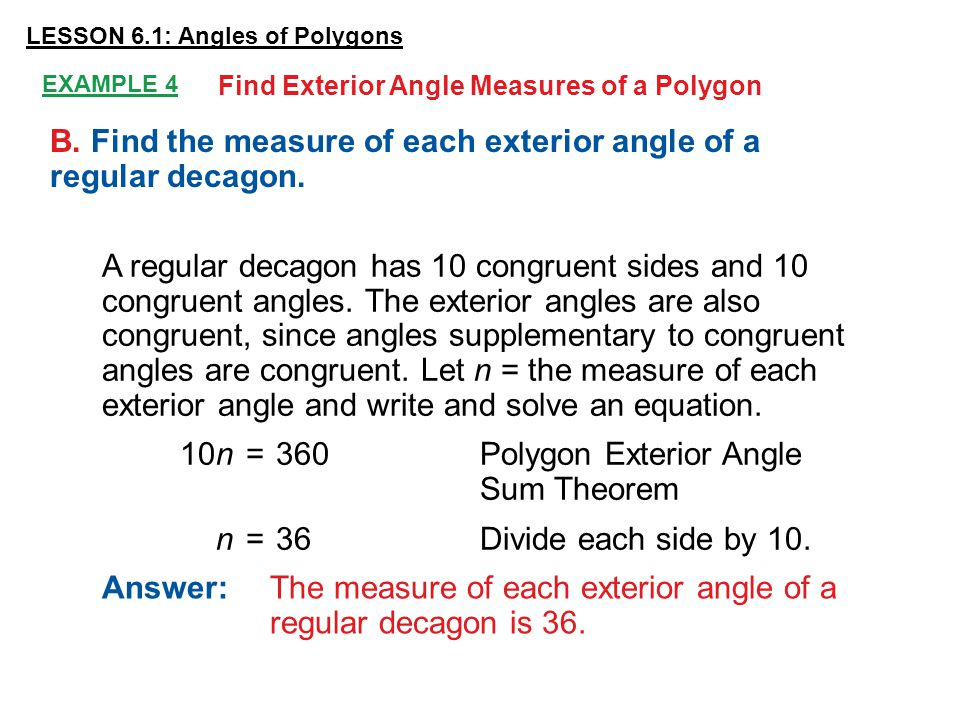 Lesson 6 1 Angles Of Polygons Ppt Video Online Download