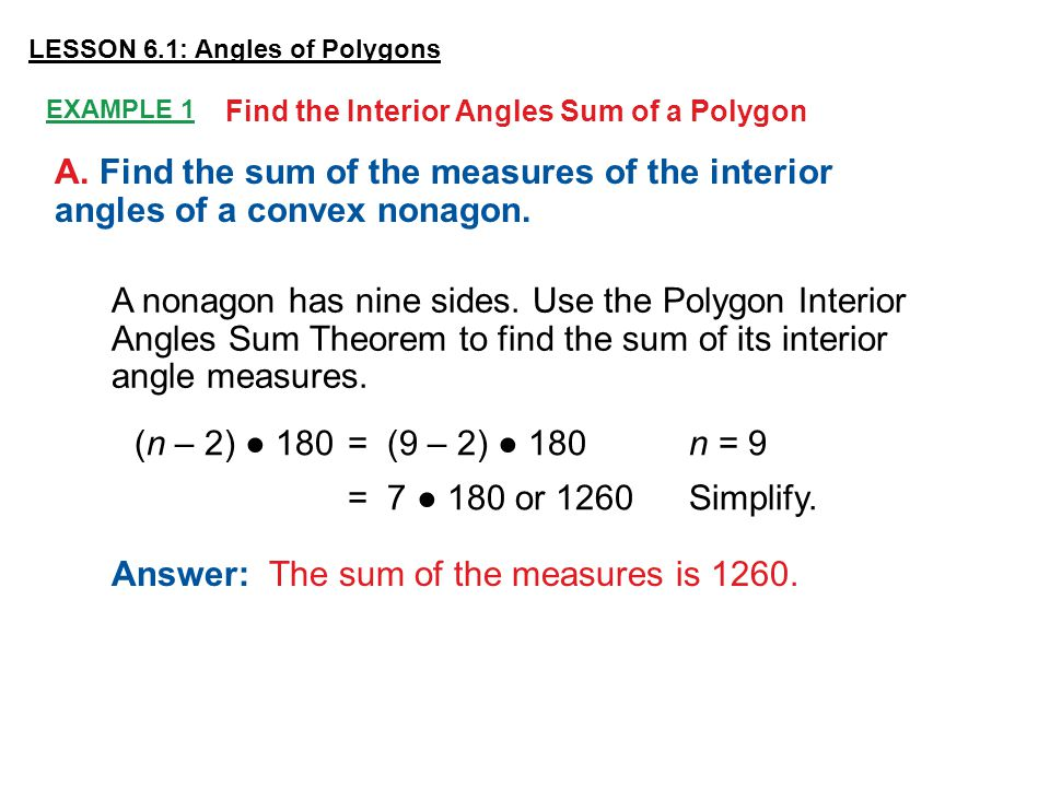 What Is The Sum Of Interior Angles Of A Nonagon Polygon