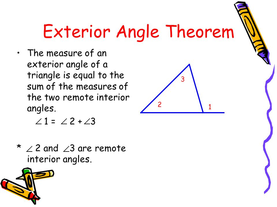 4 2 angles of triangles objectives apply the angle sum for Exterior angle theorem