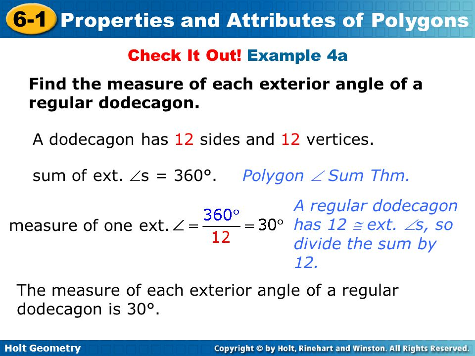 6 1 properties and attributes of polygons warm up lesson presentation ppt video online download Exterior angle of a 12 sided polygon