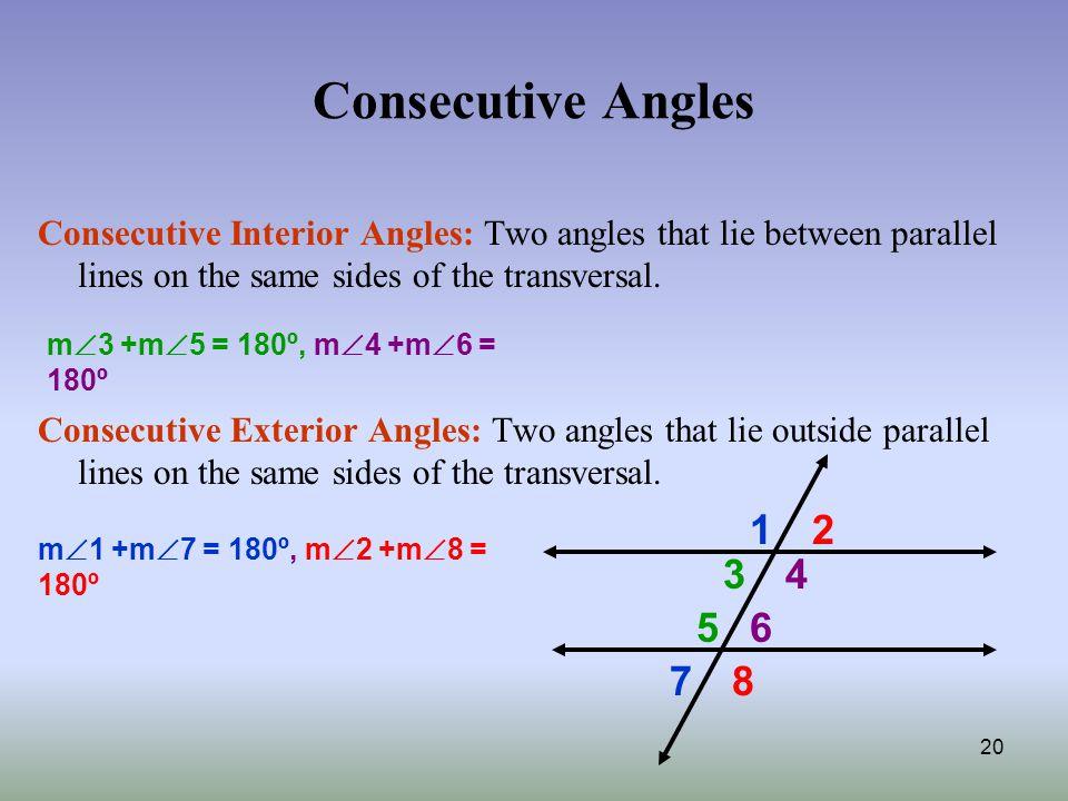 20 Consecutive Angles Consecutive Interior ...