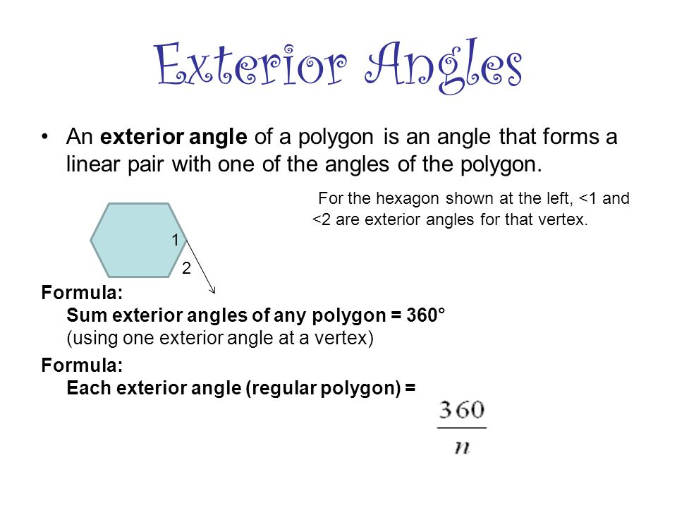 Polygons ppt video online download for Exterior angles of a polygon formula