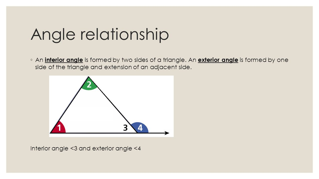 relationship between exterior interior angles triangle