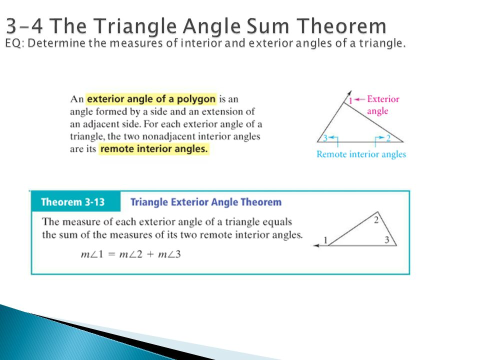 Parallel and perpendicular lines ppt download - Sum of the exterior angles of a triangle ...