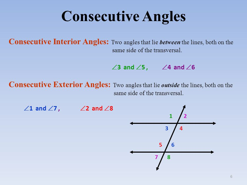 What is consecutive interior angles in math