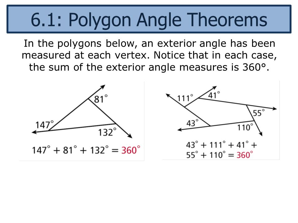 6 1 polygon angle theorems ppt video online download for Exterior angle theorem