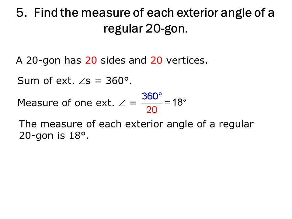 6 1 polygon angle theorems ppt video online download Exterior angle of a 12 sided polygon