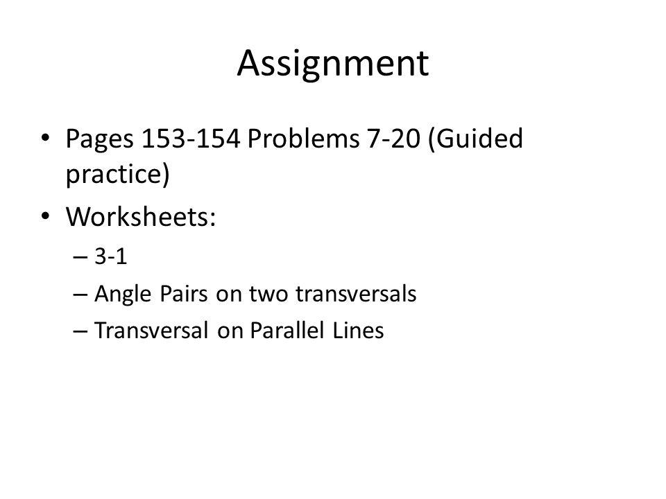 Unit 3 Angles and Transversals ppt download – Transversals Worksheet
