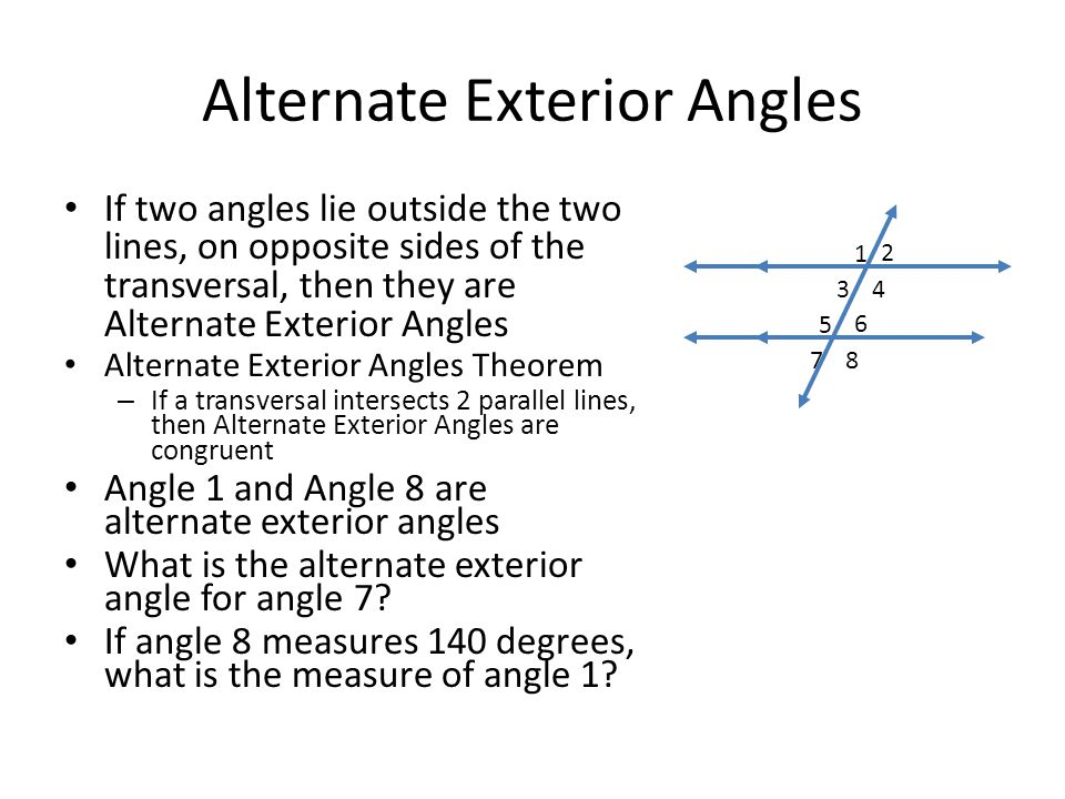 Unit 3 angles and transversals ppt video online download for Alternate exterior angles conjecture