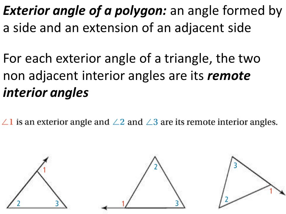 Remote interior angles means