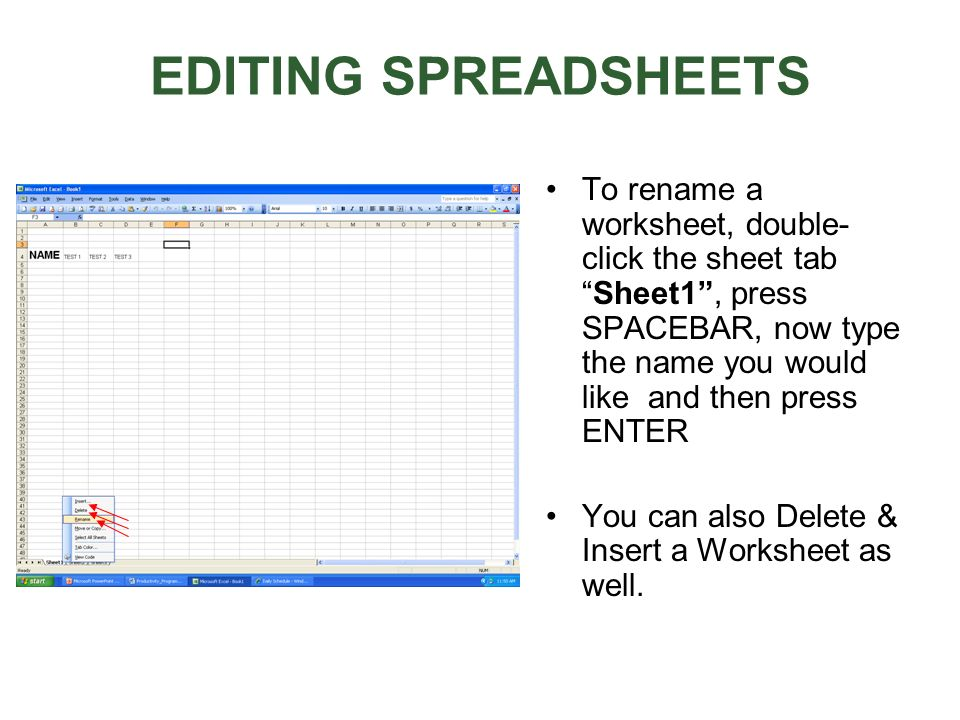 EDITING SPREADSHEETS