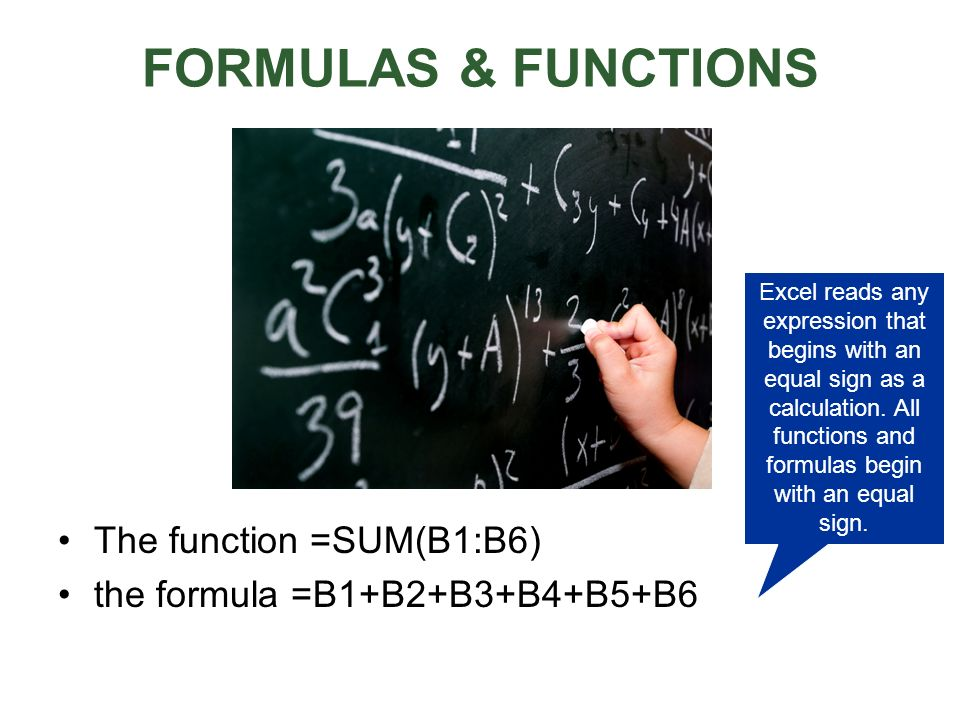 FORMULAS & FUNCTIONS The function =SUM(B1:B6)
