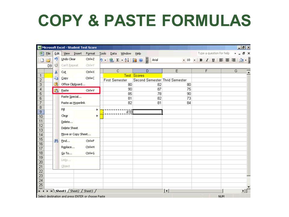 COPY & PASTE FORMULAS